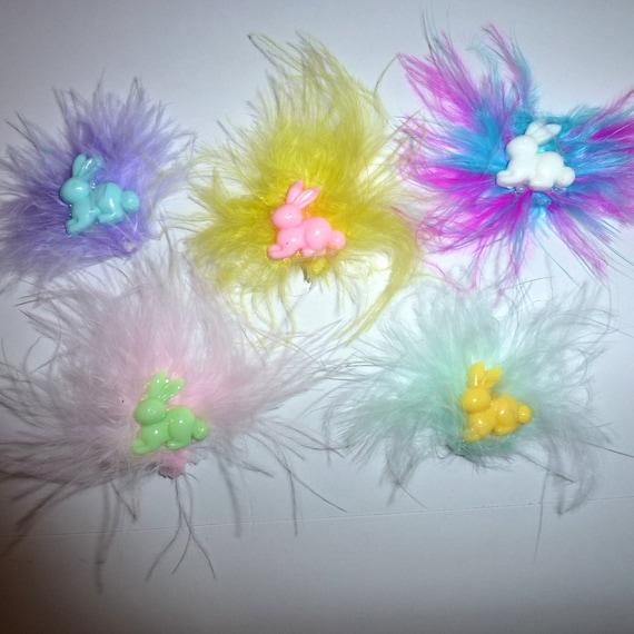 DogBowBarrettes ~ marabou easter bunny rabbit barrette marabou feather boa bow clip or latex bands (fb190)
