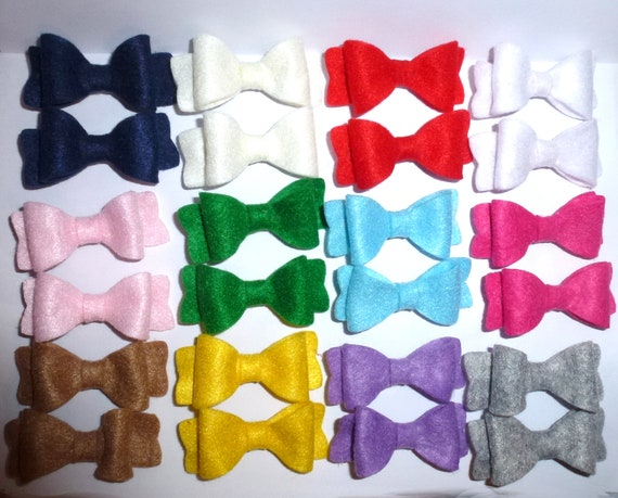Puppy Bows ~ pet hair clips many colors felt dog bow w/alligator clips PAIR Poodle ears bows (fb140)