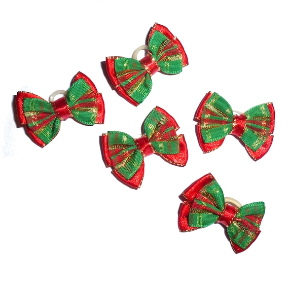 Puppy Bows ~  Christmas dog bows pigtail pairs red green gold bow tie shape barrette or latex band ~USA seller