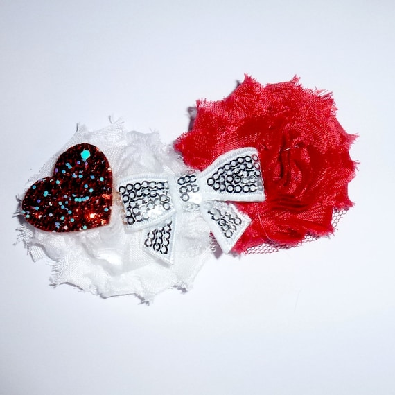 Puppy Bows ~ Shabby chic heart dog bow Valentine's day collar slide flower red white  ~USA seller (fb162)