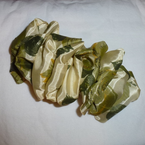 Becky Bows ~  Barrette ribbon Hand crafted over sized  BIG hair bow Women or Girls olive green floral