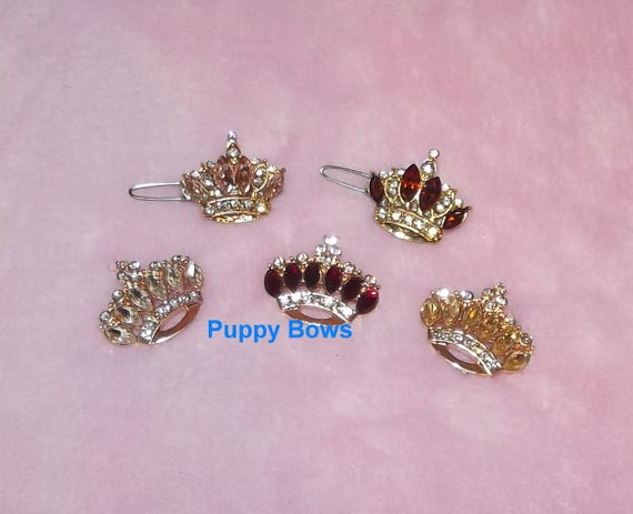 "Puppy Bows ~ TINY 1"" rhinestone crystal crown dog bow  pet hair clip topknot barrette 4 colors!!"