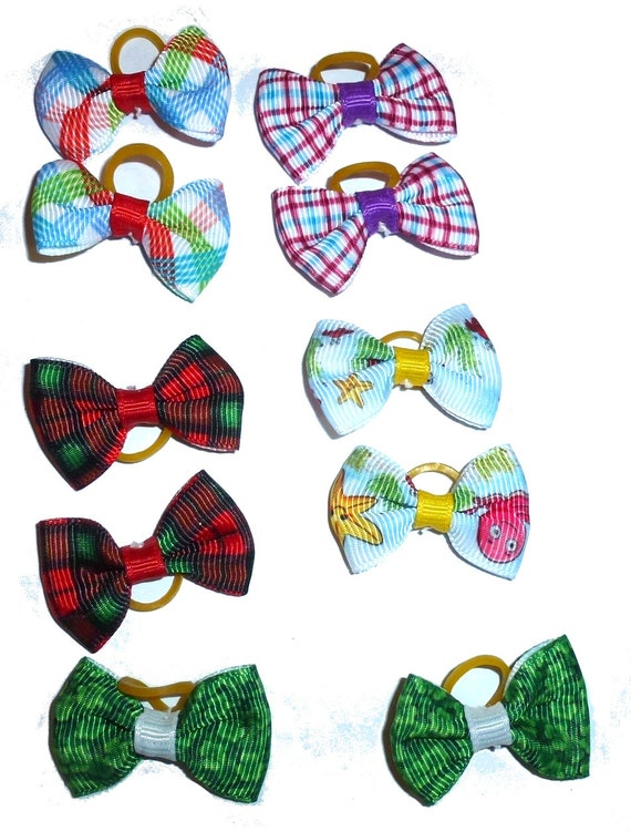 Puppy Bows ~  everyday 4 pairs dog groomers grooming pet hair bows boy colors (fb312)