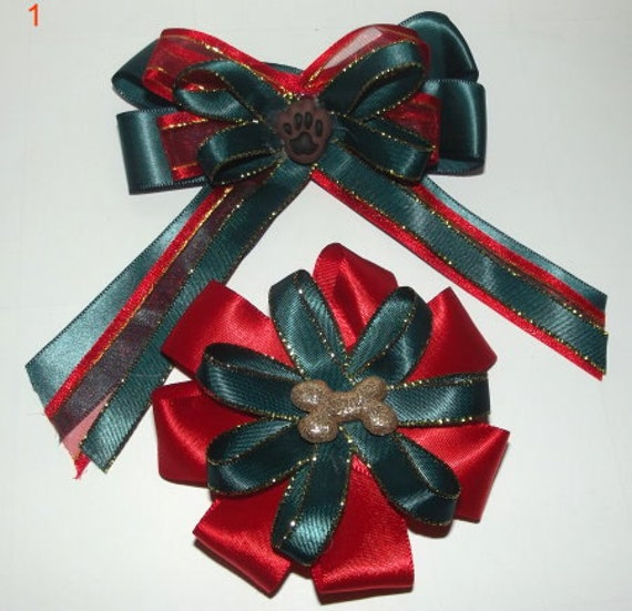 Pair of collar dog bows for Christmas