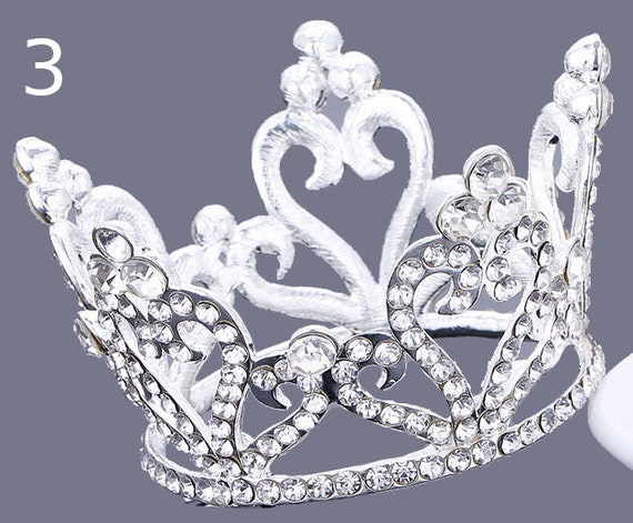 Puppy Bows ~ ROYAL 3D silver full round tiara for dogs pet hair crown beauty pageant style barrette (fbE3)