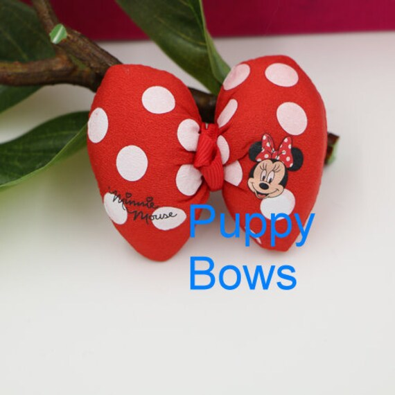 Puppy Bows ~ Puffy polka dots Minnie Mouse dog hair pet clip Red