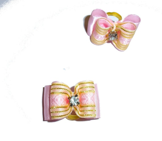 """Puppy Dog Bows ~ 7/8"""" pink gold organza overlay pet hair show bow barrettes or bands (FB304)"""
