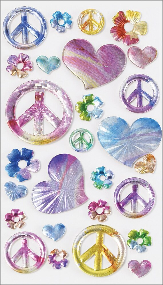 Puppy Bows ~ craft supplies scrapbook wall stickers EK success sticko rainbow peace sign heart stickers 1 sheet puffy