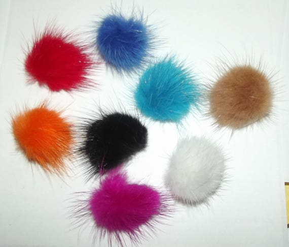 """Puppy Bows ~ Tiny 1"""" fuzzy feather fur marabou ball puffs  pet dog hair bow pairs (fb47)"""