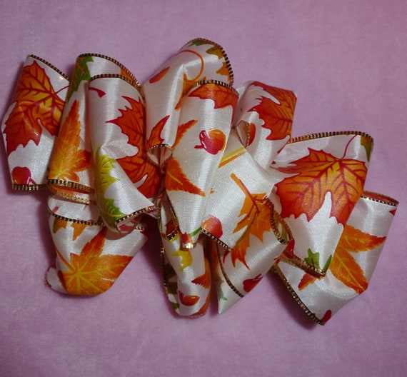 Becky Bows ~  Barrette ribbon Hand crafted over sized  BIG hair bow Women or Girls Fall Autumn orange gold leaves