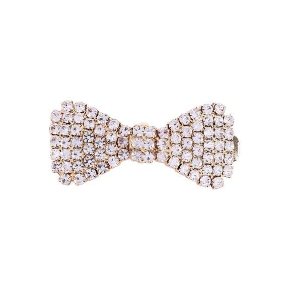 Dog crystal rhinestone bowknot barrette gold or silver bow (rb84)
