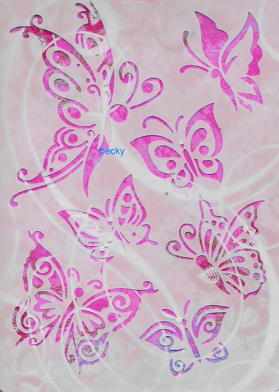 Puppy Bows ~ Craft stencil BUTTERFLY butterflies scrapbook wall art home decor