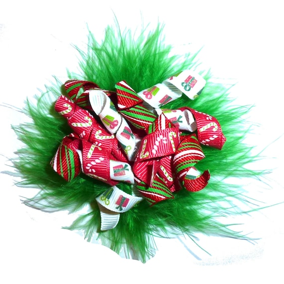 Puppy Dog Bows ~ Marabou feather boa Christmas green red korker hair bow barrettes or bands
