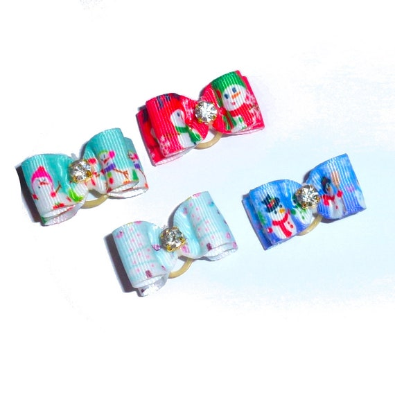 "Puppy Dog Bows ~ 5/8"" snowman winter christmas pet hair show bow barrettes or bands"