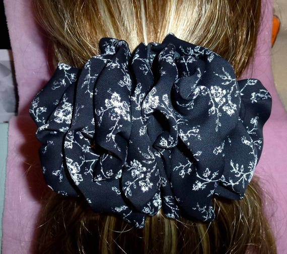 Becky Bows ~ ROSETTE Barrette Hand crafted giant huge Scarf BIG hair bow Women or Girls black gray roses