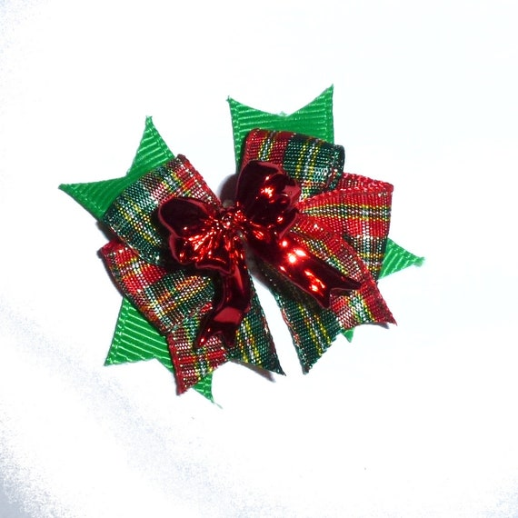 Puppy Bows ~ Christmas red green plaid red bow center bow pet hair latex bands or clip ~USA seller
