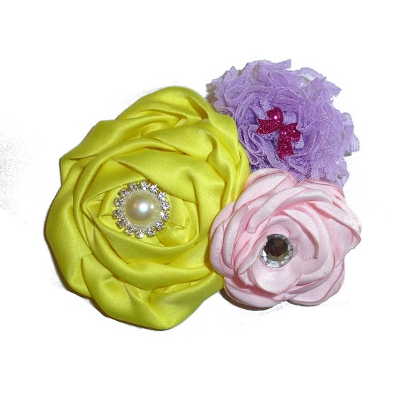 Puppy Bows ~ Dog collar slide bow large dog hair bows purple pink yellow ruffled flower ~USA seller (dc10)