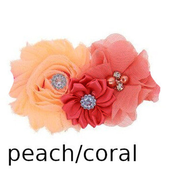 Puppy Bows ~ Dog collar slide bow large dog hair bows dark peach pink light coral  lace and rhinestones ~USA seller (dc7)