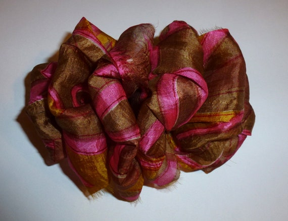 Becky Bows ~ OOAK ladies  Hand crafted SILK shabby chic  BIG fashion hair bow Women or Girls giant pink gold