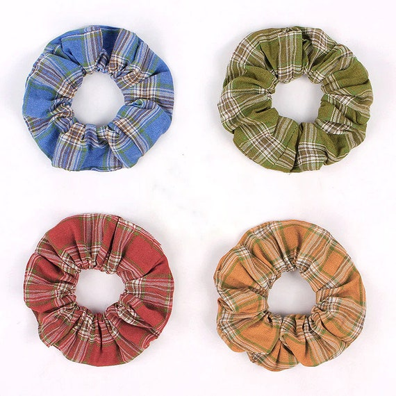 Becky Bows ~  Womens ladies large fabric fall plaid Autumn gold green red blue scrunchy scrunchie