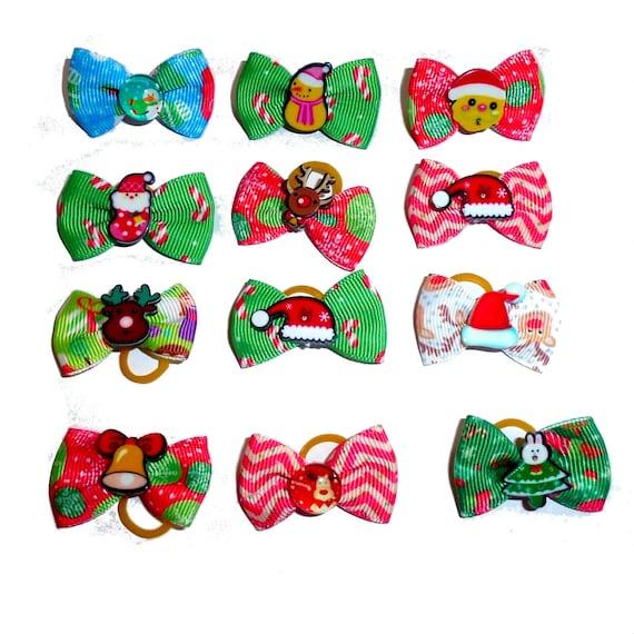 Christmas snowman santa claus bells  everyday dog groomers grooming pet hair bows (fb200)