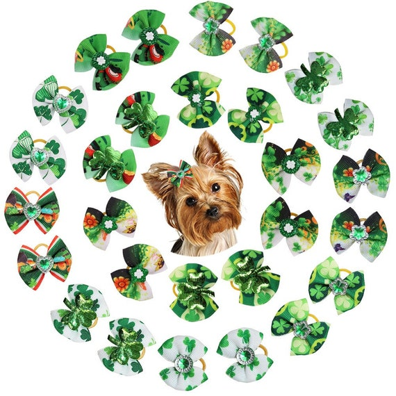St. Patrick's day green shamrock clover everyday dog groomers grooming pet hair bows (fb280)