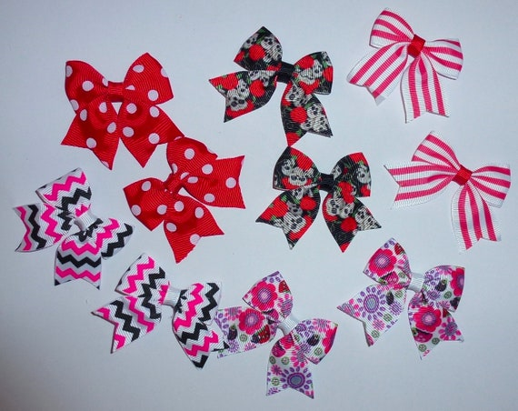 Puppy Bows ~ 10 dog bow for girls - pairs dog grooming pet hair bows - (218i)