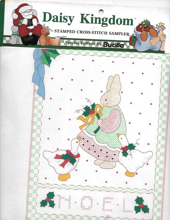 Puppy Bows ~ craft Buscilla Daisy Kingdom stamped cross stitch sampler 63445 Christmas noel bunny rabbit goose