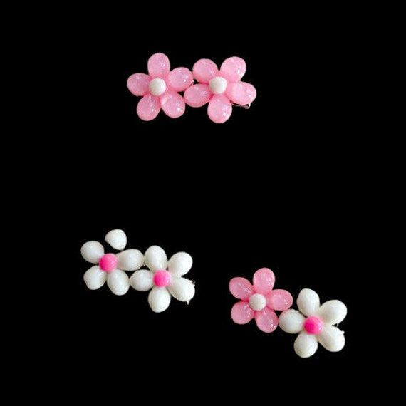 Puppy Dog Bows ~ cute double daisy flower pet hair bow barrettes or bands (fb209)