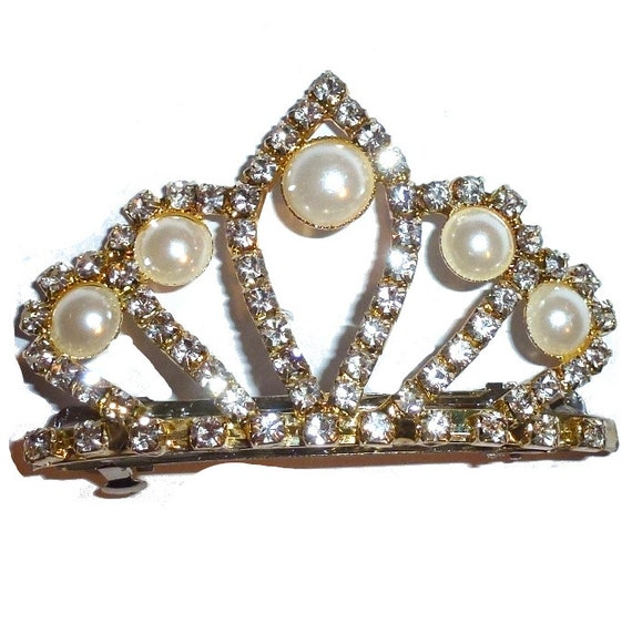 """Dog tiara 3"""" wide 60mm french barrette gold and pearls (rb83)"""