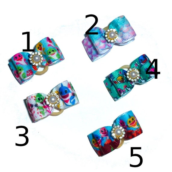"""Mermaid fish dog show bows  5/8"""" double loop  barrette or latex bands blue purple ~USA seller (FB258)"""