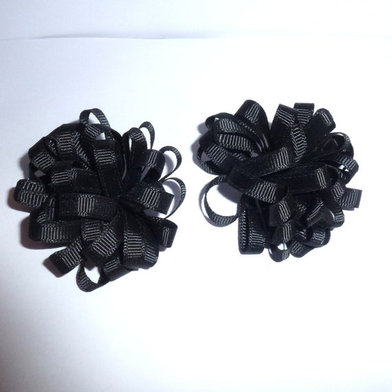 Puppy Dog Bows ~ solid black multi loop PAIR  bow for boys barrettes or bands