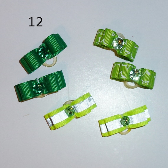 "Puppy Bows ~WEE TINY boys 3/8"" show bows pairs dog bow  pet hair clip barrette or latex bands (set12)"