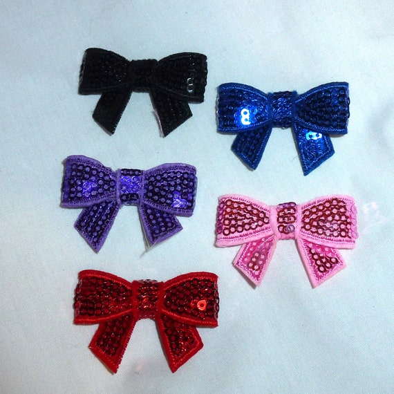Puppy Bows ~Small sequin bowknot bows pink, blue, black, purple, red dog barrette bow hair clips for pets ~USA seller (fb117)
