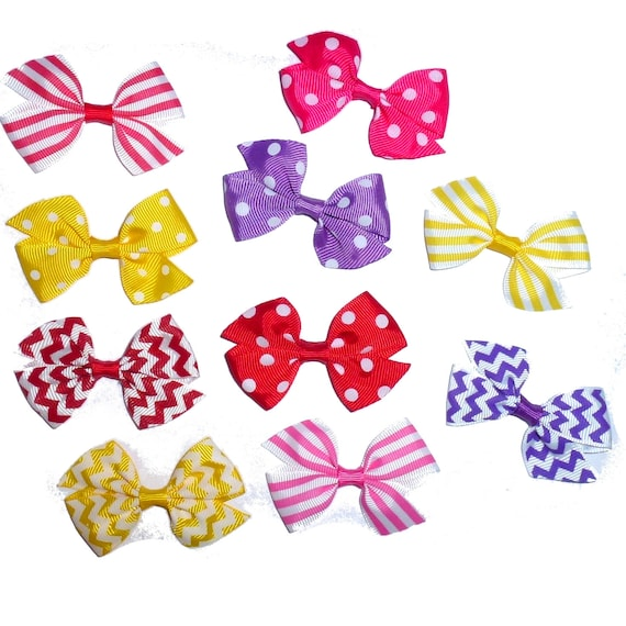 Puppy Bows ~ 10 single  everyday dog groomers grooming pet hair bows girl colors polka dots chevron stripes paw prints