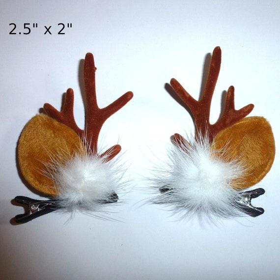 Reindeer fuzzy ears antlers pair pet hair  bow barrettes   (FB178)