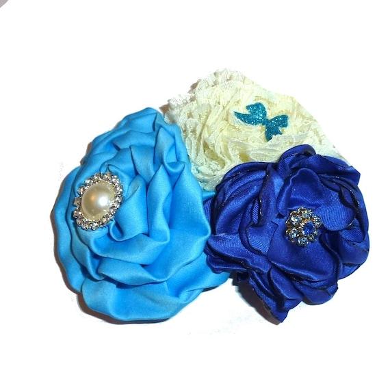 Puppy Bows ~ Dog collar slide bow large dog hair bows blue rhinestone ruffled flower ~USA seller (dc10)