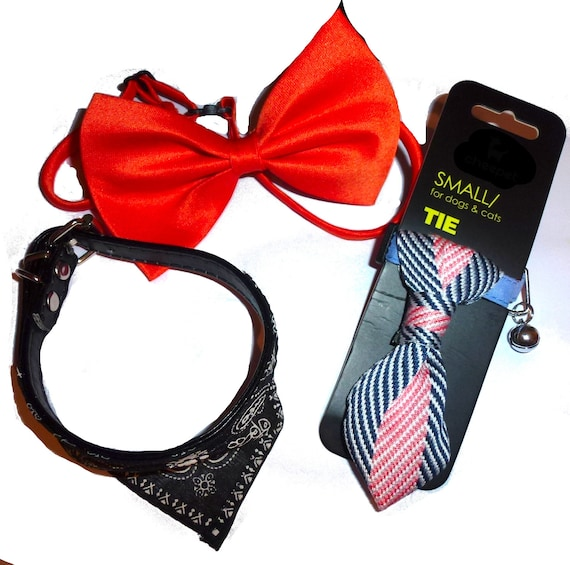 "Puppy Bows ~ Set of THREE fits 8""-11"" dog collar black bandanna neck tie orange bow tie for small male dogs"