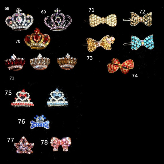Puppy Bows ~ LARGE DOGS rhinestone tiara crown styles 68-78 barrette pink or red jewelry ~USA seller