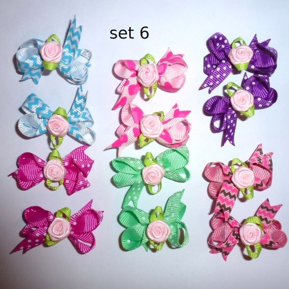 Puppy Bows ~ 12 twisted boutique rose dog bow for girls - pairs dog grooming pet hair bows - set 6