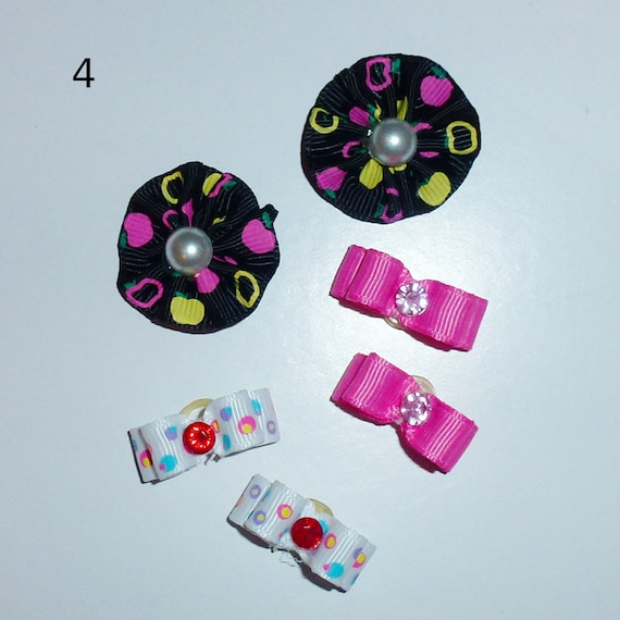 "Puppy Bows ~WEE TINY 3/8"" show bows pairs dog bow  pet hair clip barrette or latex bands (set4)"