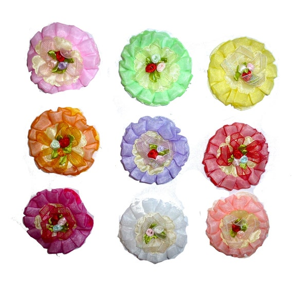 Puppy Bows ~ Dog collar slide bow large dog hair bows fun MANY COLORS ruffled flower ~USA seller (dc10)