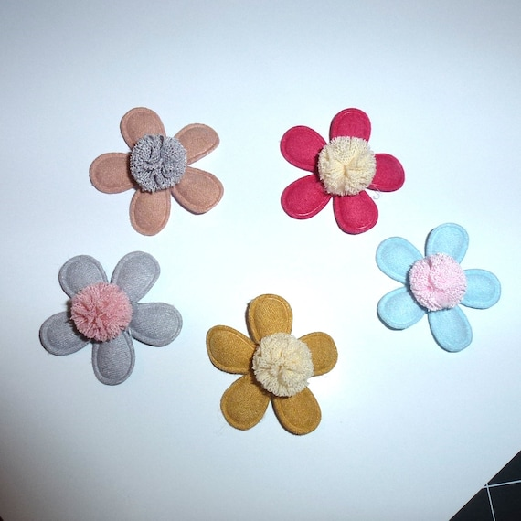 Puppy Bows ~ set of 5 pom pom flowers hearts padded dog barrette or bands  pet hair bow  - (fb321)