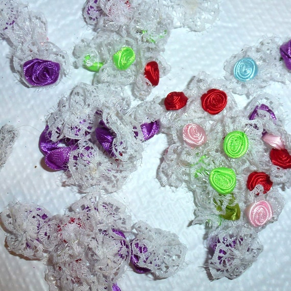 Puppy Bows craft items ~  15 assorted purple red green ribbon rose flower appliques lace