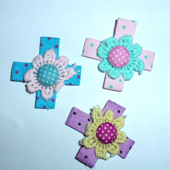 Puppy Bows craft items ~  14 assorted pink blue purple lace daisy dot ribbon roses flower appliques