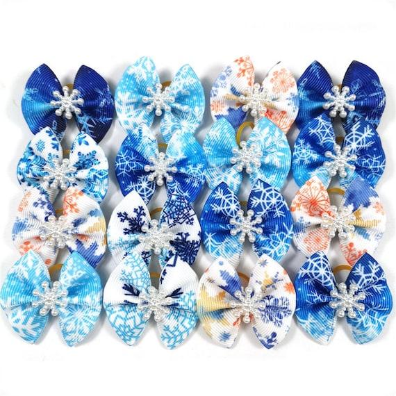 Winter blue boys snowflakes  Christmas everyday dog groomers grooming pet hair bows (fb160)