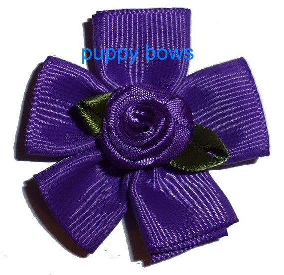 Puppy Dog Bows ~ Fun rose  flowers pet hair bow barrettes or bands 6 colors!  (fb110)