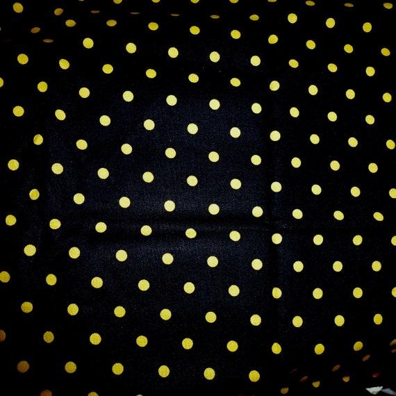 "Puppy Bows craft supplies ~ cotton fabric black yellow dots 1/3 yard x 44"""