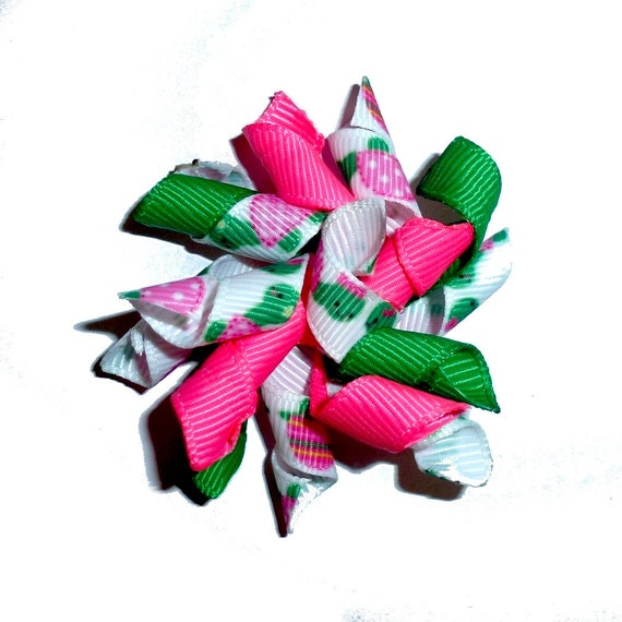 Puppy Bows ~  Pink green turtle dog bow korker hair barrette or bands