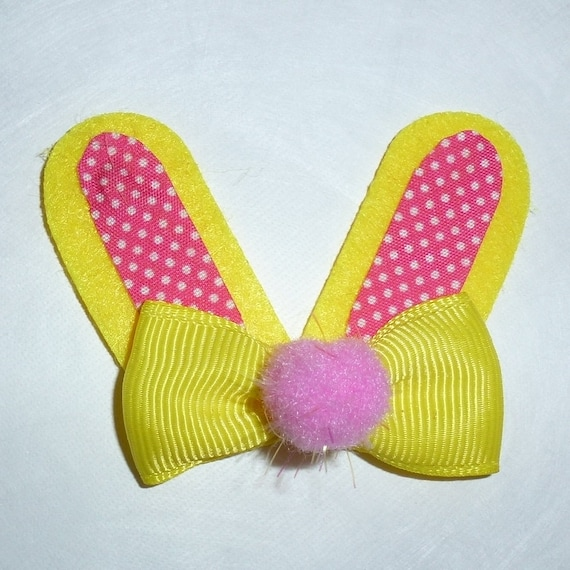 Puppy Dog Bows ~ Easter rabbit bunny yellow pink ears  pet hair  bow barrettes or bands collar slide (FB265)